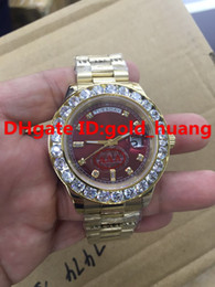Wholesale 2016NEW Luxury mm Gold Big diamond Mechanical man watch Blue black green Claret gules dial Automatic Stainless steel men s watches