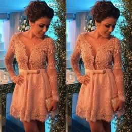 2019 New Lace Applique Long Sleeves Homecoming Dresses Beaded Deep V neck Bow Sash Sexy Cocktail Dress A-line Prom Party Gowns