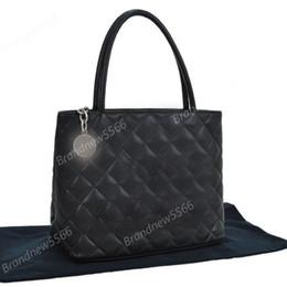 Free Shipping Vintage Black Caviar Leather Medallion Tote Bag Women Genuine Leather Handbag Silver Hardware 2016 Brand new