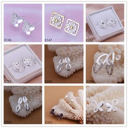 10 pairs diffrent style women's 925 silver earrings GTE6,new arrival wholesale fashion sterling silver stud earrings