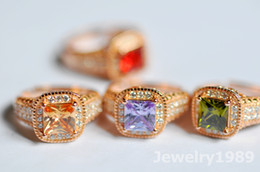 Wholesale CZ diamond Ring Gemstone Rings sterling silver Rings Zircon chandelier Red jewelry white rose gold plated