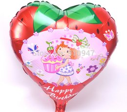 Wholesale Cute design strawberry girl balloon Aluminium foil cartoon balloon best gift for kids baby toys