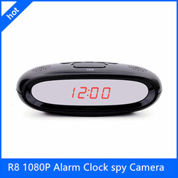 Wholesale R8 Full HD P H Multi functional Alarm Clock spy Camera hidden very very small hidden camera with Remote Control and Motion Detection