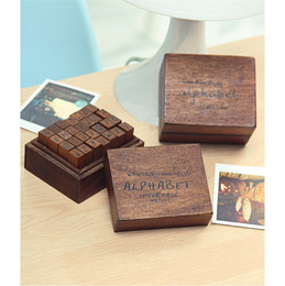 Wholesale ANTIQUE Alphabet STAMP Handwriting Lower case UPPER capital Wooden Box Symbols Rubber Stamp Gift For Kids set flexible letters stamp