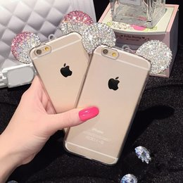 Wholesale High Quality D Mickey Mouse Rhinestone Ears Soft Transparent TPU Protect Phone Covers Case For Iphone s s plus