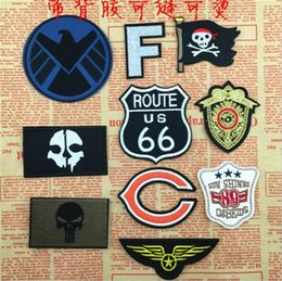 Wholesale GPS multicolor Punisher airborne embroidered patches Iron On Patches Skull and Bones Made of Cloth Guaranteed punk Appliques sew on patch
