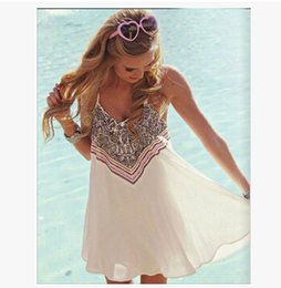 Wholesale Summer Clothes for Women Dress Strapless Spaghetti Strap Printed Sexy Beach Dresses Casual Wear Free Shipping