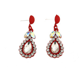 New Earrings for women flower Drop Earring with color stone wedding earring fashion jewelry Free shipment