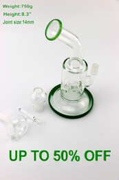 Wholesale New design Jadeite Color Glass Bong two small perc water pipe inch two function