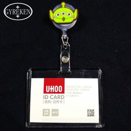 Wholesale Cartoon Images Retractable Pull Reel Clear Business Badge Card Holder Supplies Bank Cards Holder Card Bag company office supply