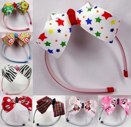 50PC Girl head band bow, plastic with teeth band 8 choose 5 color