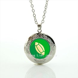 Wedding body jewelry locket necklace sport rugby football green and yellow ball picture gift for bride and the bridegroom NF033