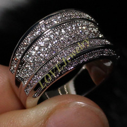 Diamonique 14K White Gold Filled Simulated Diamond CZ Paved Wedding Band Big Engagement Ring Hip Pop Jewelry