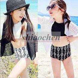 Wholesale Kids Princess Cartoon Swimsuit Korean Fission Bathing Suits Summer High Waist Bikini Set Fashion Swimwear Sun Protection Beachwear A1209