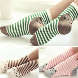 Wholesale 24 Pieces pair New Fashion High Quality Women Cute D Cartoon Animal Cat Footprints Striped Socks Women Cotton Sock
