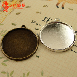 A1229 25MM round metal stamping blanks, alloy antique bronze cameo cabochon setting, tibetan silver pendant blank bezel tray