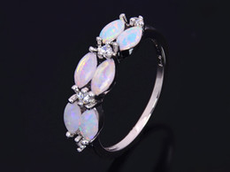 Wholesale & Retail Fashion Fine White Fire Opal Rings 925 Silver Plated Jewelry For Women RMS1508001