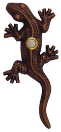 Wholesale Resin material Doorbell Push Putton Switch Lizard Gecko In Antique brass