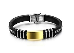 Silicone Man Bangles Classical Black Gold Plated Stainless Steel Cool Men Jewelry Bracelets charm Tide Men Bracelet Silicone Bracelets Bangl