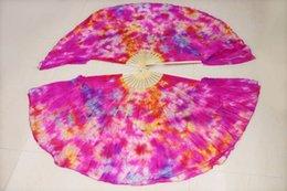 2016 Newest Design 100% Silk Fan Double Layer Fan Veils High Quality Women's Belly Dance Short Fan 1 Pair White Rose Blue Mix Color