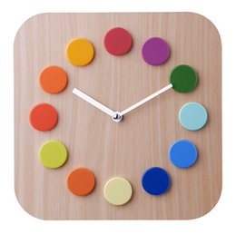 Wholesale Colorful wave imitation wood plastic wall clock square pointer clock environmental clock for home decor