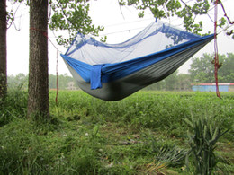 Wholesale Bedding Outlet Portable High Strength Parachute Fabric Hammock Hanging Bed With Mosquio Free DHL shipping Net For Camping