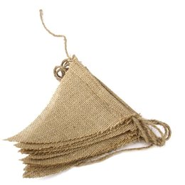 Wholesale Vintage Triangle pennant Jute Hessian Burlap Bunting Banner kit Wedding party Photography Props Decoration Design Your Own Banner Flags