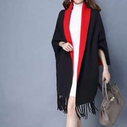 Wholesale Ladies Pink Wool Coats - 2016 Winter new lady fashion tape shawls scarf amphibious tassel thickening keep warm long sleeve cashmere cape coat
