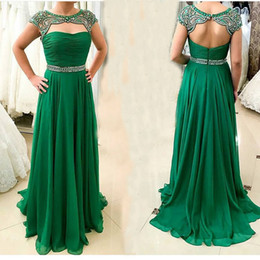 2016 Emerald Green Prom Dresses Long Beaded Cap Sleeves Keyhole Backless Pleats Draped Chiffon Women Plus Size Formal Evening Gowns