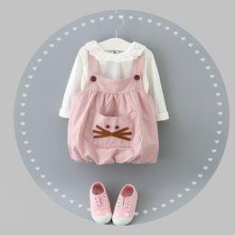 Wholesale Hot Sale Baby Girls Cat Pocket Suspender Dress Outfits Autumn Children Boutique Clothing Years Little Girls Pieces Set