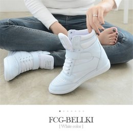 Wholesale Spring Color Wedge Heels - 2016 High Top ankle boots heels women Breathable casual shoes height increased wedges shoes mixed color sneakers