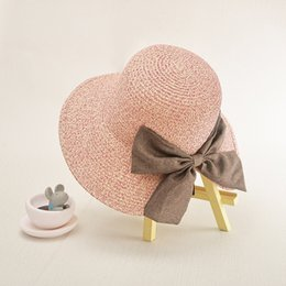 4 Solid Colors Summer Ladies Straw Cap Hand-woven Sun Hat Outdoor Travel Adjustable Women Beach Hat with Bowknot