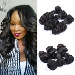 Human Hair Weave Mongolian Loose Wave Virgin Hair Bundles 100% Human Hair Extensions Natural Black 8-30inch G-EASY