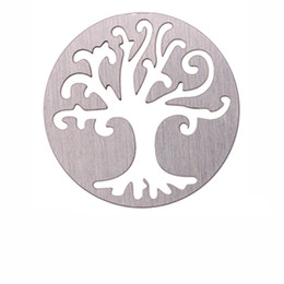 Wholesale 10pcs Stainless Steel Round Window Plate Tree Charms Silver Floating Plates For mm Glass Locket