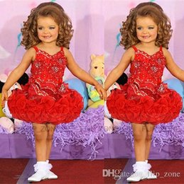 Wholesale Beauty Mini Little Girl s Pageant dresses with Spaghetti Strap Glitz Beaded Red Organza Ruffles Short Toddler Kids Girl Cupcake Ball Gowns