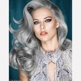 Wholesale Hot brazilian grey full lace human hair wigs silver grey body wave wavy glueless front lace wigs density with Bleached knots