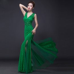 Wholesale Split Prom Dresses Mermind V Neck Beads A line Tulle Sleeveless Backless Long Cheap In Stock Christmas Party Evening Gowns