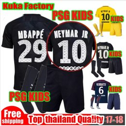 BOY KITS third black MBAPPE NEYMAR JR soccer jersey 17 18 KIDS KIT away yellow verratti cavani di maria maillot de foot BOY KIDS SHIRTS