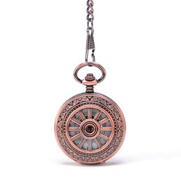 Wholesale Fashion Pop Round Rose Gold Sailor Wheel Spraies Border Arabic Numbers Hand Wind Key Chain Mehchanical Pocket Watch