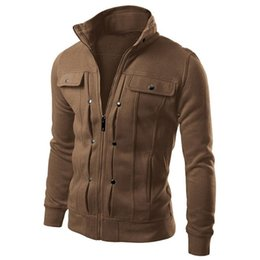 Wholesale New Fashion Men s Hoodies Zip up Pockets Casual Long Sleeved Plus Size Brand Clothing Sports Sweatshirts Colors