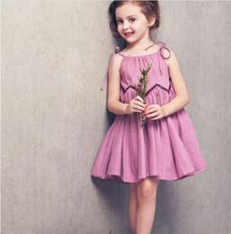 New 2016 Fashion Korean big girl Summer dress Baby Girls Sleeveless Sweet purple pleated chiffon Elegant Princess party Dress kids clothing