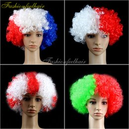 Wholesale 2016 Cheap Party Football Fan Wig Rainbow Clown Hair wigs Child Adult Costume Hair Halloween Christmas Explosion Head Colorful Ball Fan Wigs