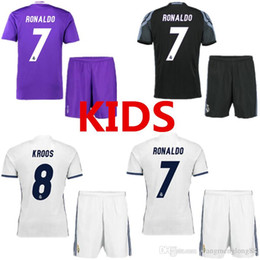 Thailand Quality Real Madrid 16-17 jersey Kids home away men Maillot de foot 2017 Ronaldo james bale benzema kroos modric shirts