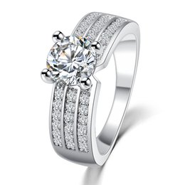 2016 New Simple Style Finger Rings Gold Platinum Plated Zircon Fashion Jewelry Crystal Ring Anniversary Wedding Jewelry