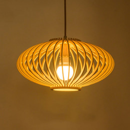 2017 bola jaula Art Light Madera hecha a mano llevó la bola colgante de la lámpara de la linterna Forma de madera hecha a mano colgante de luces Moderna madera real de la jaula de la lámpara presupuesto bola jaula