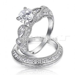 Vecalon 2016 Brand Antique Engagement wedding Band ring Set for women 2ct Cz diamond ring 925 Sterling Silver Female Finger ring