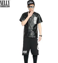 Wholesale Mens Black Leather Baseball Jersey Dxpe Chef Hiphop RAP Baseball Short Sleeve Buttons T shirt Justin Bieber Punk Rock Tee