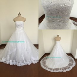 2019 New Wedding Dresses Bridal Gowns A Line Strapless Appliqued Lace White Tulle Corset Back Beads Crystals Real Image Court Train Cheap