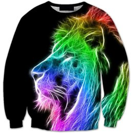 Wholesale Mens 3D Lion Head Black Long Sleeve Sweater Printing Head Tide Brand Men's Sweater