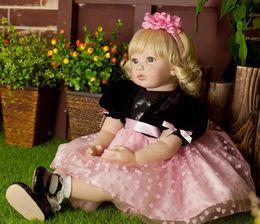 Wholesale 22 quot Hiqh quality bebe reborn menina de Silicone toddler Arianna Tatiana gold hair boneca silicone american girl reborn doll